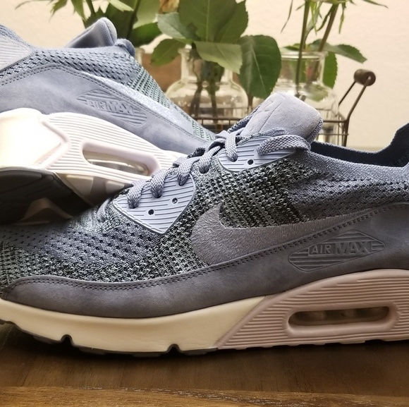 new concept 46d00 b160f Nike Air Max 90 Flyknit Blue Suede Size 12